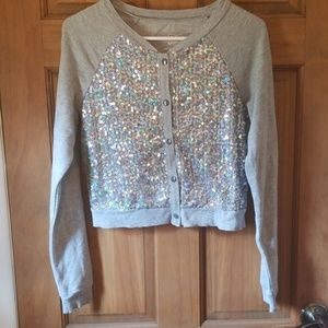 Justice sequin button up sweater Girl's 16
